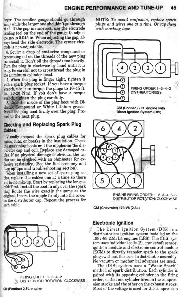 pontiac fiero chevrolet 2 8 litre v6 in 1985 1988 fiero s and 2 5 rh captfiero com 2001 5 4 Spark Plug Wiring Diagram Ford Spark Plug Wiring Diagram